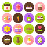 Happy Spring Easter Circle Icons Set with long Shadow Stock Photo
