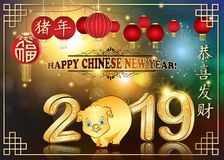 Happy Spring Festival 2019 - Chinese greeting card with shiny fireworks. Happy Chinese New Year of the earth Boar 2019! Greeting card with text in English and stock illustration