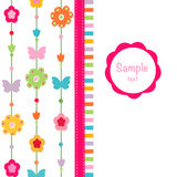 Happy spring flower, butterfly vector. Greeting card Royalty Free Stock Photo