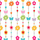 Happy spring flower, butterfly vector. Greeting card Royalty Free Stock Image