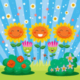 Happy Spring Flower Garden. Cute flower garden full of happy flowers celebrating spring welcome party Royalty Free Stock Photo