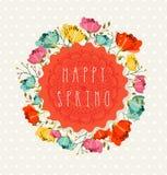 Happy Spring flower postcard vector illustration