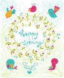 Happy spring funny illustration Stock Photo