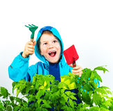Happy spring gardening boy Royalty Free Stock Photos