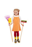 Happy spring girl with gardening tools royalty free stock photos