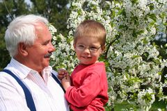 Happy spring with grandfather Stock Photos