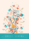 Happy Spring greeting card illustration Royalty Free Stock Photo