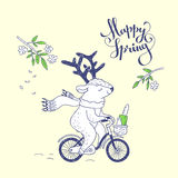 Happy spring. hand drawn illustration Stock Photography