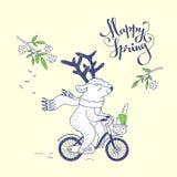 Happy spring. hand drawn illustration Stock Photography