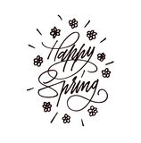 Happy Spring Hand drawn lettering. Calligraphy brush ink inscription with leave illustration.Beautiful and creative poscard design. Happy Spring Hand drawn Royalty Free Stock Photography