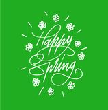 Happy Spring Hand drawn lettering. Calligraphy brush ink inscription with leave illustration.Beautiful and creative poscard design. Happy Spring Hand drawn Stock Photo