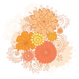 Happy Spring is Here Doodle Flower Card, Vector Illustration Royalty Free Stock Image
