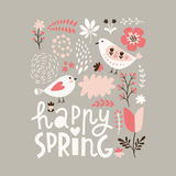 Happy Spring Illustration Stock Images