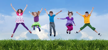 Happy spring jump Royalty Free Stock Photo