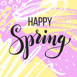 Happy spring. Lettering on Hand drawn Abstract background. Vector illustration Stock Photo