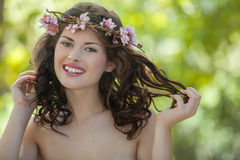 Happy spring nature woman Stock Photo