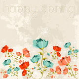 Happy spring Poppy flower Stock Photos