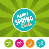 Happy Spring Sale color banner and 10%, 20%, 30% & 40% Off Marks. Vector illustration. Happy Spring Sale color banner and 10%, 20%, 30% & 40% Off Marks Stock Image