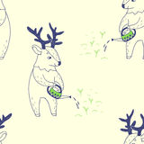 Happy spring. seamless pattern with cute deer Royalty Free Stock Photos