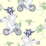 Happy spring. seamless pattern with cute deer Stock Images