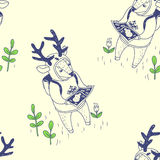 Happy spring. seamless pattern with cute deer Stock Photography