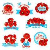 Happy spring, springtime holidays floral icon set. Happy spring, springtime holidays greeting icon set. Flowers of poppy and crocus wreath, border and bunch Royalty Free Stock Image