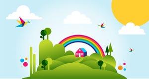 Happy spring time landscape illustration royalty free stock image