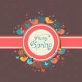 Happy Spring vintage label illustration Stock Images