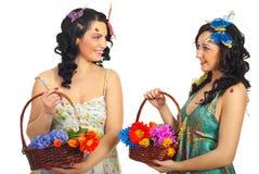 Happy spring women having conversation Stock Photo