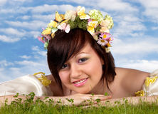 Happy springtime woman Stock Photo