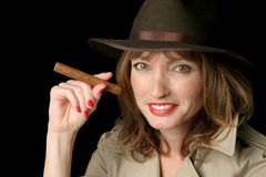 Happy Spy Lady With Cigar Royalty Free Stock Images