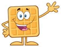 Happy Square Waffle Cartoon Mascot Character Waving Stock Images