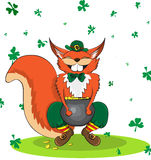 Happy squirell dressed as a leprechaun and gold. Poster St. Patrick`s Day. Vector illustration Royalty Free Stock Photo