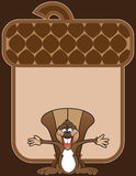 Happy Squirrel. Ecstatic cartoon squirrel standing in front of giant stylized acorn with arms outstretched Stock Images