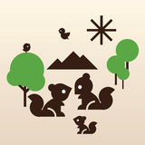 Happy squirrel family. Stylish vector illustration of flying birds and squirrel family royalty free illustration