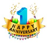 Happy 1st Anniversary Celebration. Vector illustration of Happy 1st Anniversary Celebration Stock Image