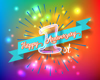 Happy 1st anniversary glass bulb numbers set. Happy 1st anniversary. Glass bulb number with ribbon and party decoration on the colorful background Stock Photos
