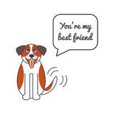 Happy St. Bernard dog with speech bubble and saying Stock Photography