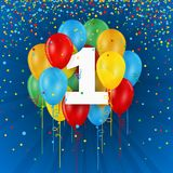 Happy 1st Birthday / Anniversary card with balloons. Happy 1st Birthday / Anniversary vector card with colorful balloons and confetti on dark blue background Royalty Free Stock Images