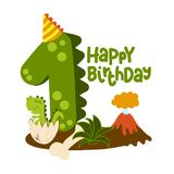 Happy 1st Birthday - Cute dinosaur alphabet doodle.