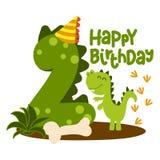 Happy 2st Birthday - Cute dinosaur alphabet doodle.