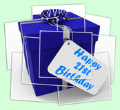 Happy 21st Birthday Gift Displays Celebrating Twenty-One Years Stock Image