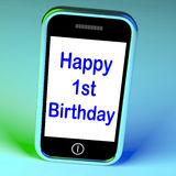 Happy 1st Birthday On Phone Means First Stock Image