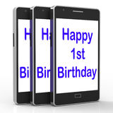 Happy 1st Birthday On Phone Means First. Happy 1st Birthday On Phone Meaning First vector illustration