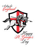 Happy St George Day A Day For England Retro Poster Stock Images
