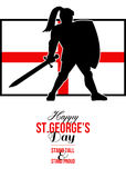 Happy St George Day Stand Tall and Proud Greeting Card Stock Photos