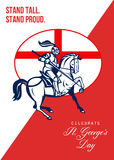 Happy St George Day Stand Tall Stand Proud Retro Poster Royalty Free Stock Photos