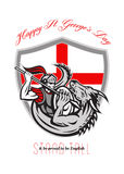 Happy St George Stand Tall Proud to be English Retro Poster Royalty Free Stock Image