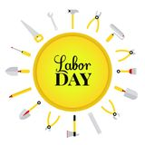 Happy 1st may lettering vector background. Labour Day logo concept with wrenches. International Workers day illustration. For greeting card, poster design Royalty Free Illustration