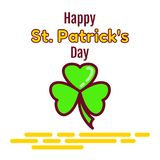 Happy St. Partic Day greeting card. A green leaf of a clover is called a shamrock and a congratulatory inscription. Flat icon isol. Ated on white background Royalty Free Stock Image